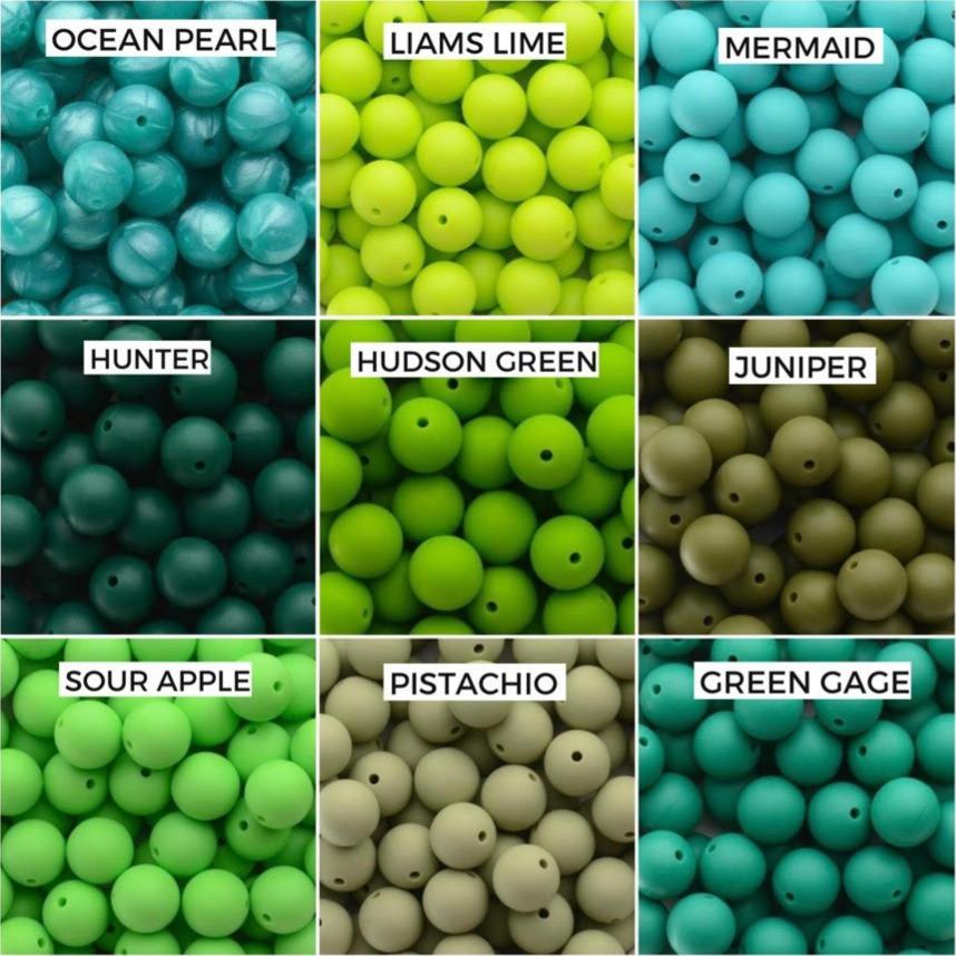 Ocean Pearl, Liams Lime, Mermaid  Hunter, Hudson Green, Juniper  Sour Apple, Pistachio, Green Gage