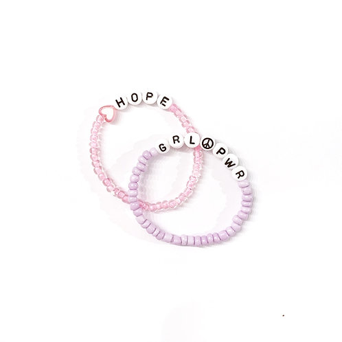 Peace Sign / Pink and White Heart Seed Bead Name Bracelet