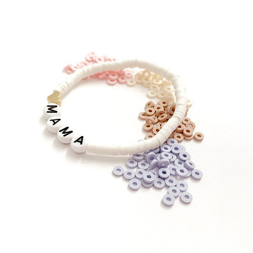 Small Clay Name Bracelet with Gold or Silver Heart