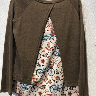 Split Back Bicycle Print Top $23.50