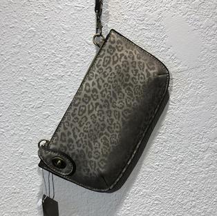 Silver Matt Metallic Leopard Clutch $32