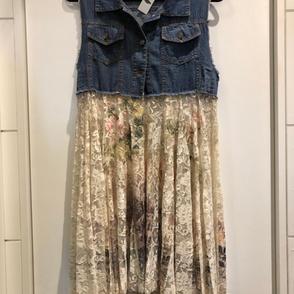 Denim Floral Vest/Skirt $72.00