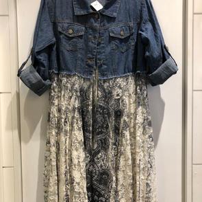 Denim Shirt w/Lace Skirt $75.00