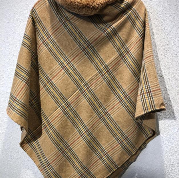 Plaid Fur Collar Poncho $47.50