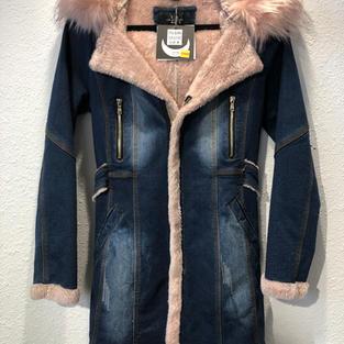Pink Fur Lined Denim Coat  $68