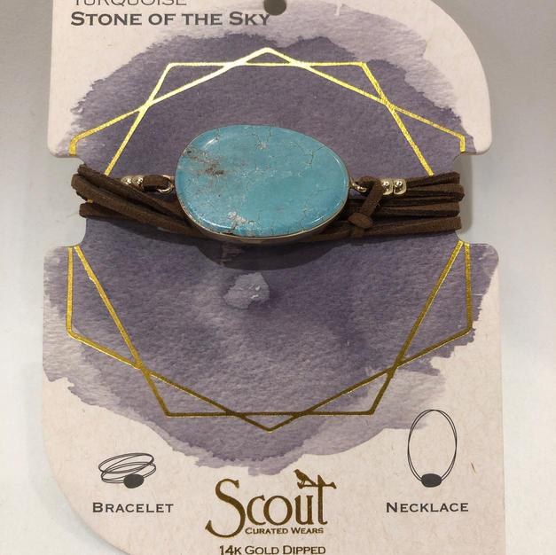 Turquoise Stone Wrap Bracelet/Necklace $24.95