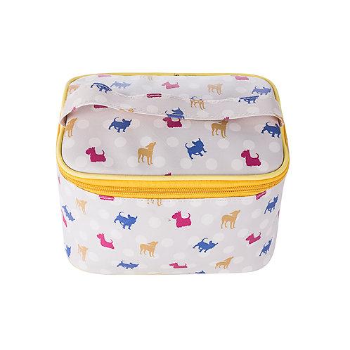 Polka dot dog makeup bag