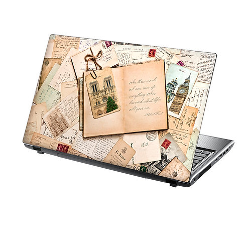 Laptop Skin Vinyl Sticker Vintage Letters and Book
