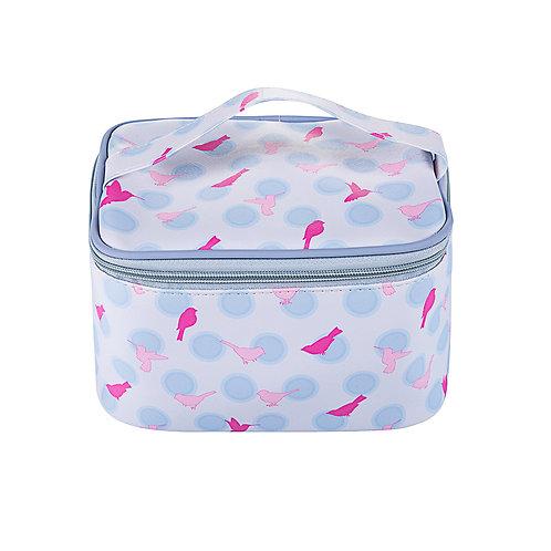 Polka dot birds makeup bag