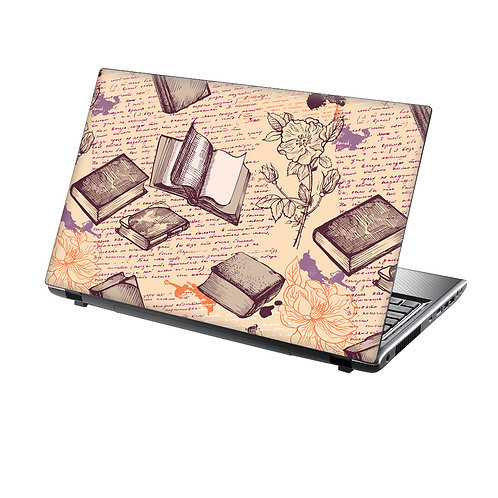 Laptop Skin Vinyl Sticker Retro Floral and Books