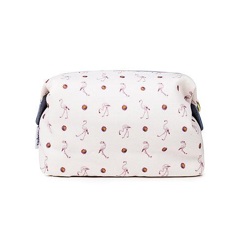 Canvas Make-up Bag Floral Flamingos