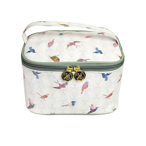 Soft Vanity Case Make-up Bag with Handle Colourful Birds