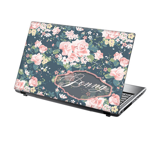 Personalised Laptop Skin Vinyl Sticker Vintage Roses