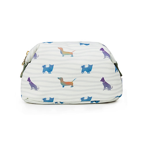 Canvas Make-up Bag Dogs with Waves