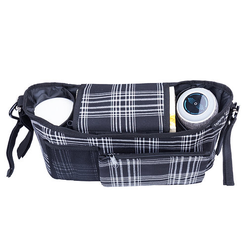 Pram Organiser Buggy Bag Black and White