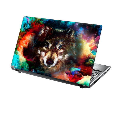 Laptop Skin Vinyl Sticker Wolf Face in Colourful Clouds