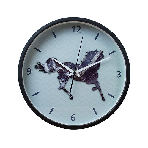 Horse wooden frame wall clock