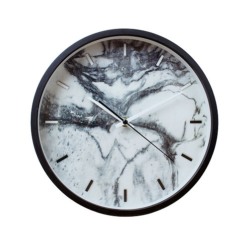 Marble texture wooden frame wall clock
