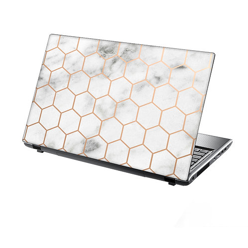Laptop Skin Vinyl Sticker Honeycomb Metal on Marble