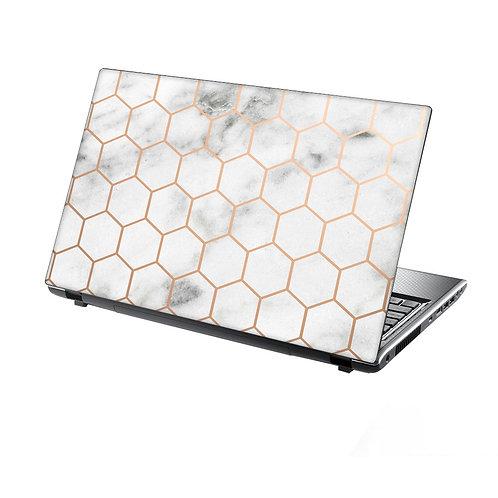 Laptop Skin Vinyl Sticker Honeycomb Metal on Marble