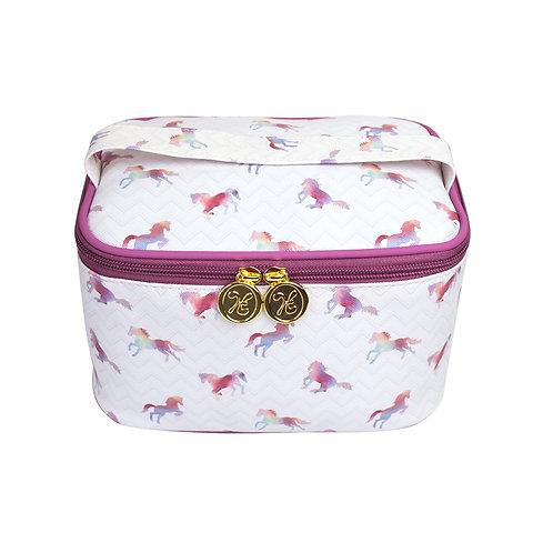 Soft Vanity Case Make-up Bag with Handle Rainbow Horses