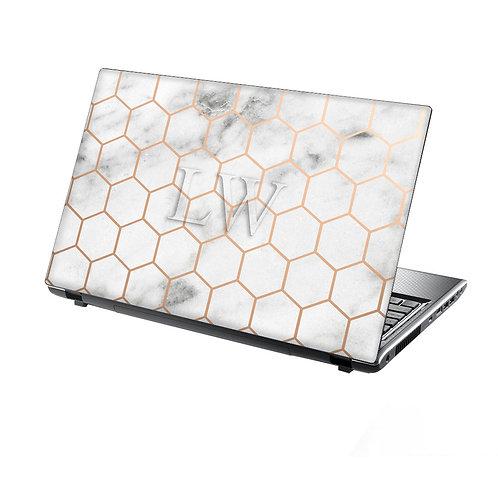 Personalised Laptop Skin Marble & Metal