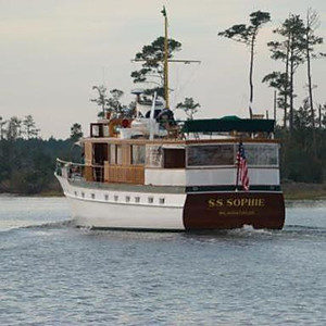 """""""S.S. Sophie,"""" a 1947 80' Trumpy yacht"""