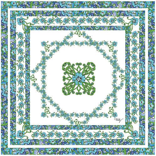 GD carré de soie Fleur bleue centrale