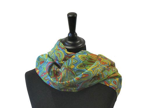 "Grand foulard""Grand Incas"" Laine et soie"