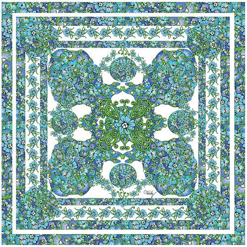 """Carré de soie""""Fleurs bleues complet"""""""
