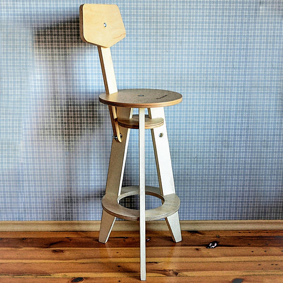 Wooden bar chair, counter chair in industrial style, kitchen chair