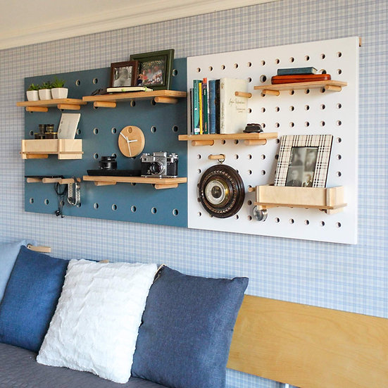 Set of two pegboards. Pegboard  wall, pegboard decor, plywood peg board shelves