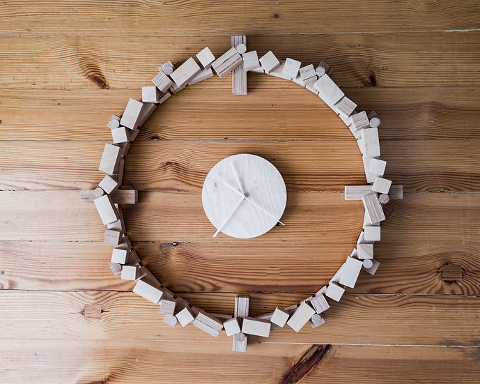 Large wooden wall clock for kitchen, office, living room.