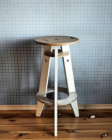 Wooden bar stool, counter stool in industrial style, kitchen stool