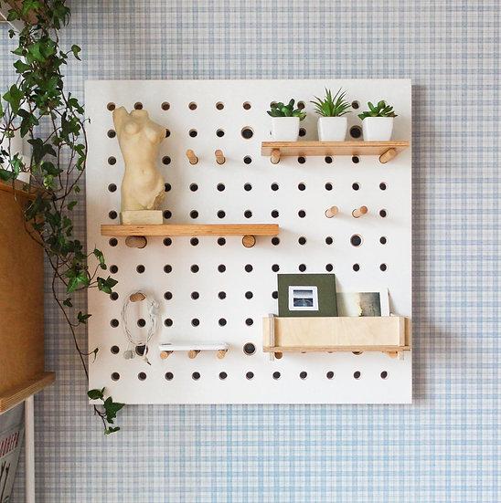 Pegboard display, pegboard organizer, plywood peg board shelves