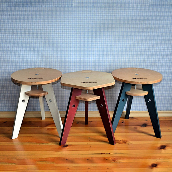 Folding stool, Scandinavian plywood stool, farmhouse stool.