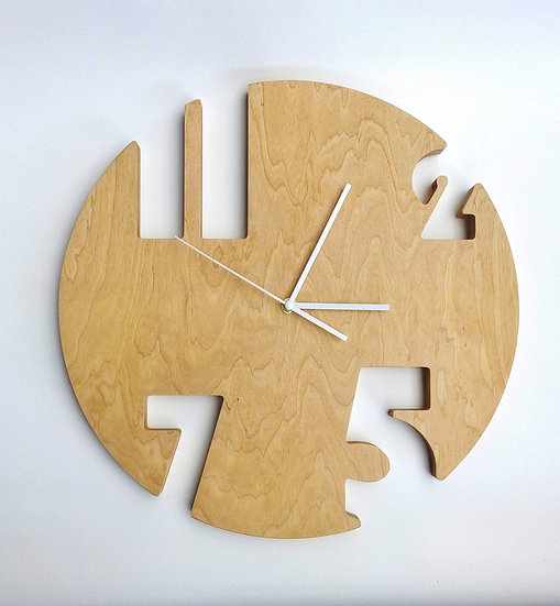 Large round wooden wall clock for kitchen, office, living room.