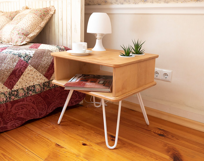 Plywood bedside table, nightstand with hairpin legs.