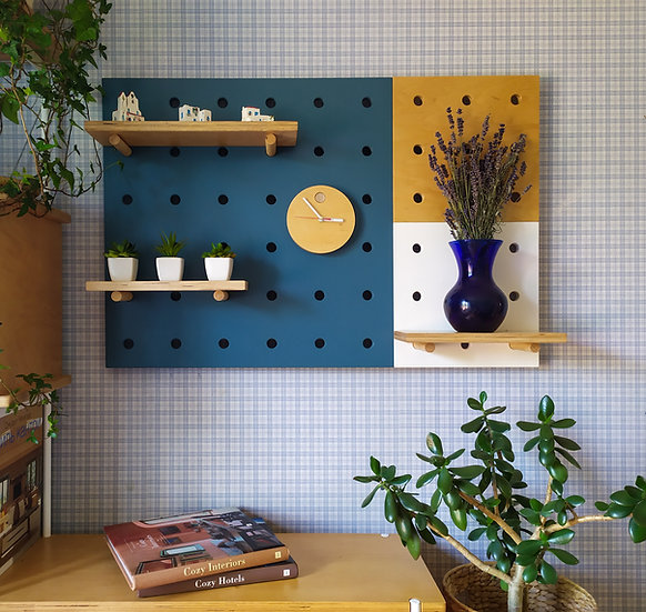 Set of three pegboards. Pegboard  wall, pegboard decor, peg board shelves