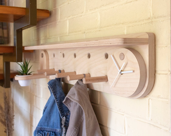 Peg rail with shelf. Coat rack. Entryway organizer.