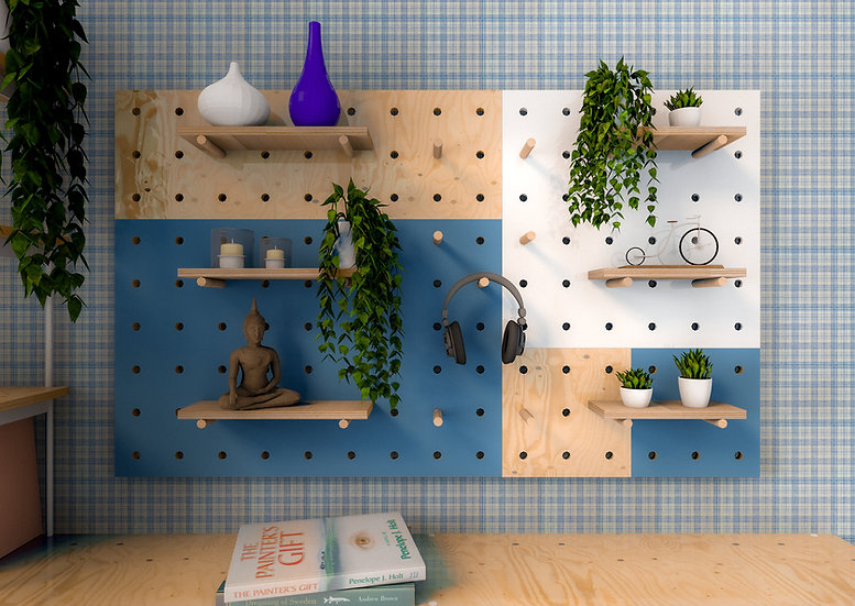 Set of five pegboards. Pegboard  wall, pegboard decor, plywood peg board