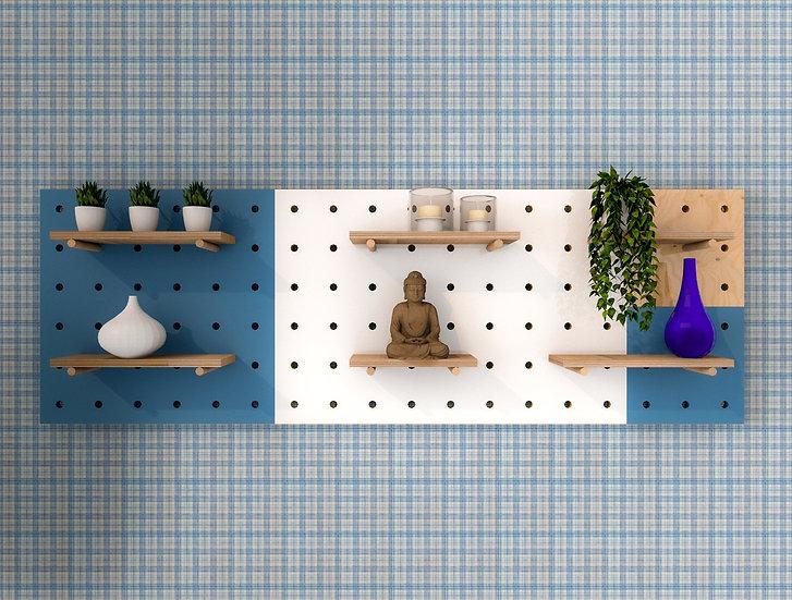 Set of thour pegboards. Pegboard  wall, pegboard decor, peg board shelves