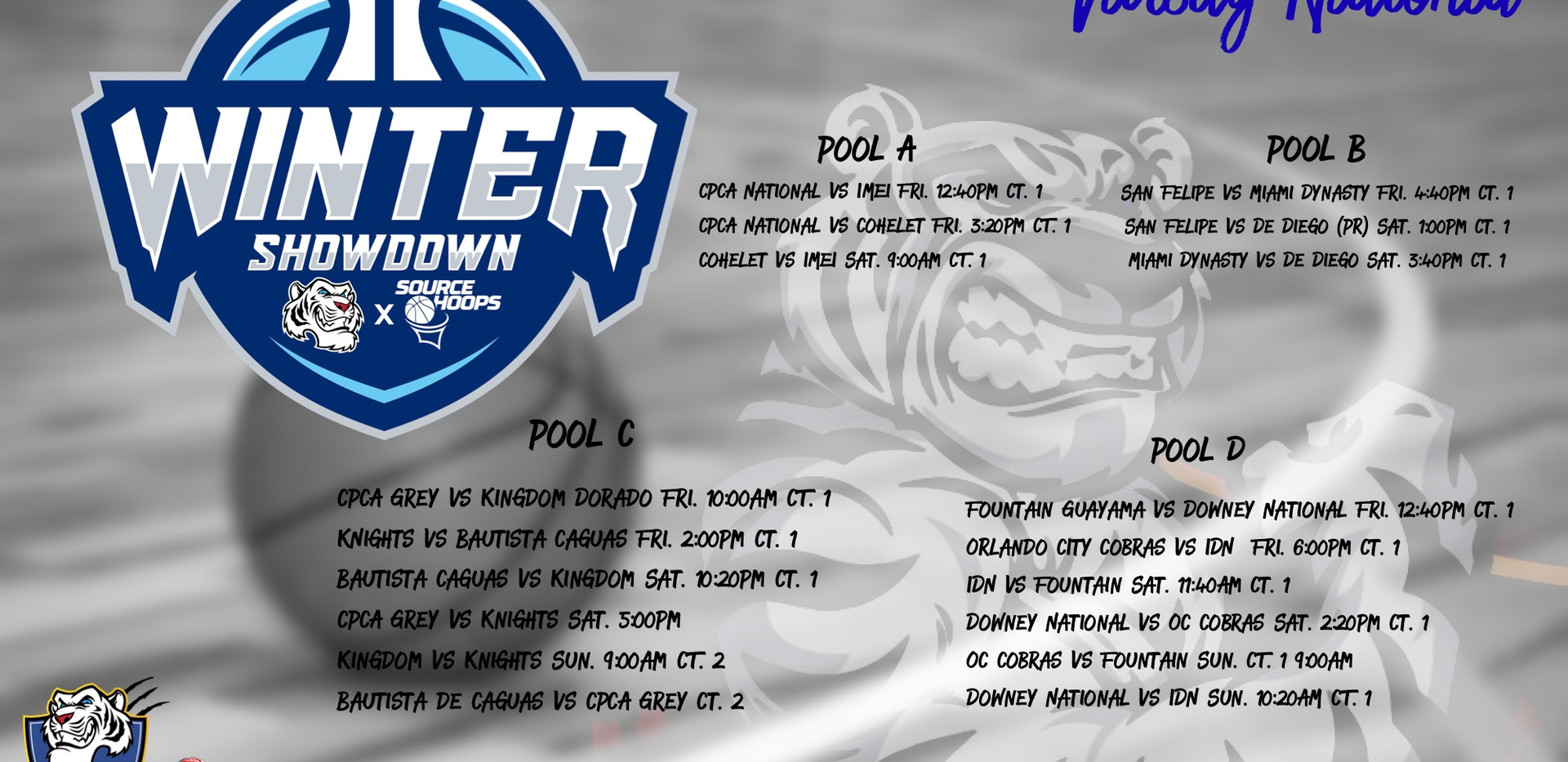 National Division Pool Play Schedule