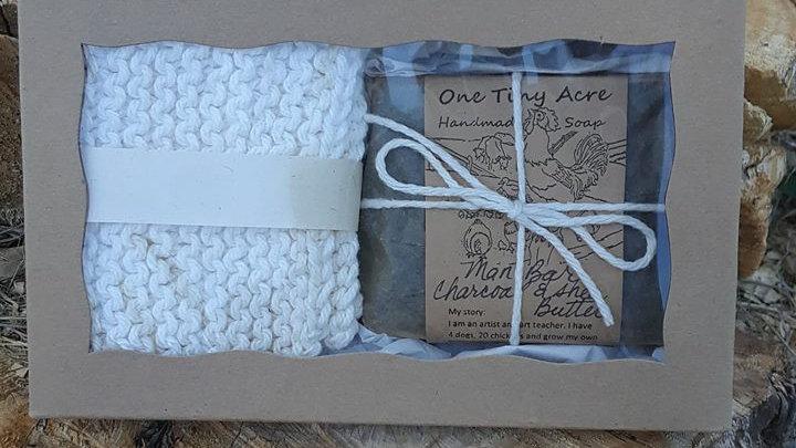 Wash cloth/soap gift set