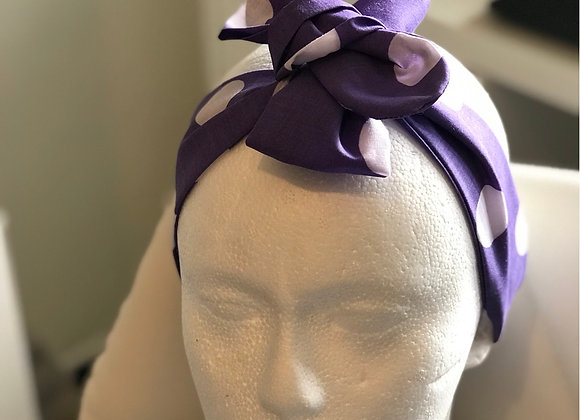 Purple and White Spot Bow headband Adult size