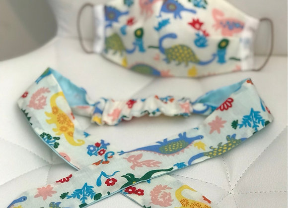 Dinasaur Face Covering and matching Bow head band Child size