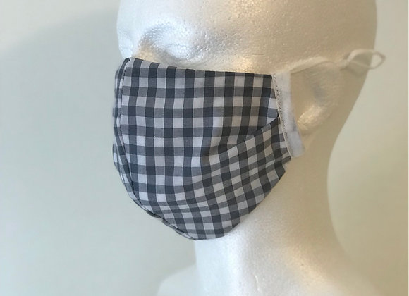 Grey Gingham work Wear  Face Covering