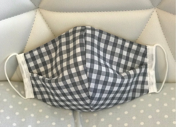 Grey Gingham Face Covering (Occasional Wear)