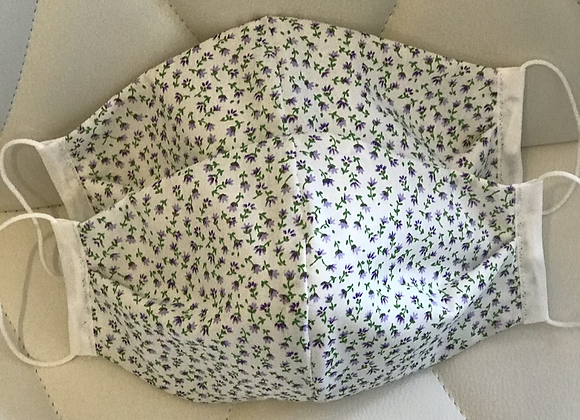 Small Lilac Flower fabric Face Covering