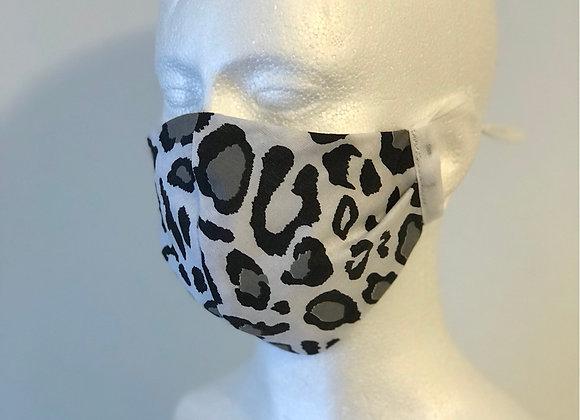 Black/Grey Leopard Print Work Wear Face Covering